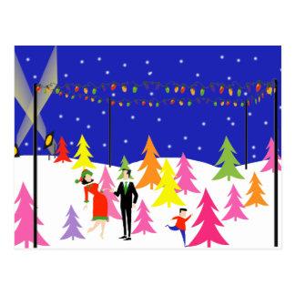Retro Christmas Tree Farm Postcard