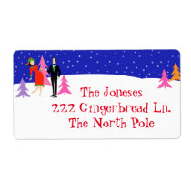 Retro Christmas Tree Farm Return Address Labels