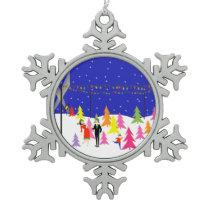 Retro Christmas Tree Farm Snowflake Ornament