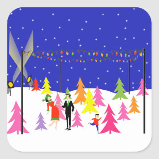 Retro Christmas Tree Farm Stickers