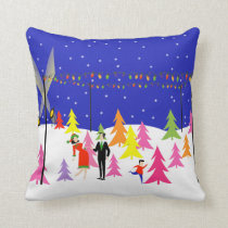 Retro Christmas Tree Farm Throw Pillow