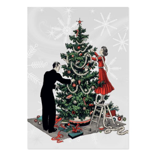 Retro Christmas Tree Gift Tag Large Business Card