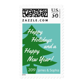 Retro Christmas Tree Holiday Postage Stamp