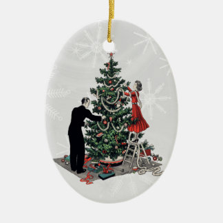 Retro Christmas Tree Double-Sided Oval Ceramic Christmas Ornament