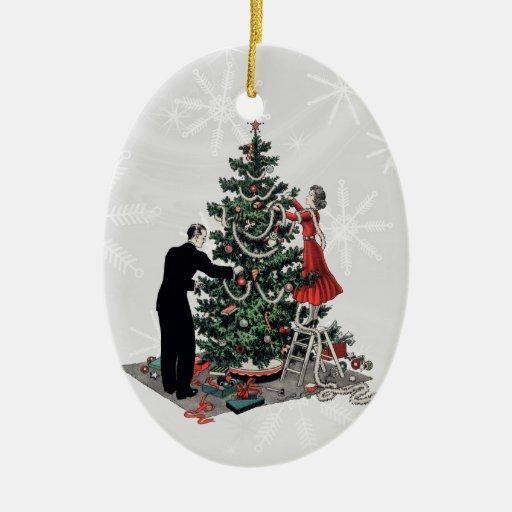 Retro Christmas Tree Double-Sided Oval Ceramic Christmas Ornament