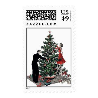 Retro Christmas Tree Stamp