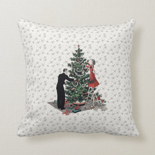 Retro Christmas Tree Throw Pillow