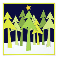 Retro Christmas Trees Holiday Open House Party Card