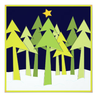Retro Christmas Trees Holiday Open House Party Card at Zazzle