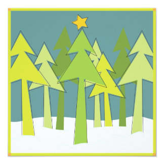 """Retro Christmas Trees Holiday Open House Party 5.25"""" Square Invitation Card"""