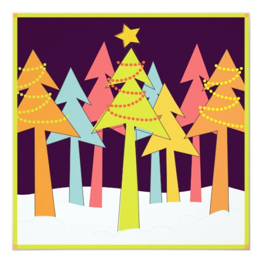 Retro Christmas Trees Holiday Party 5.25x5.25 Square Paper Invitation Card