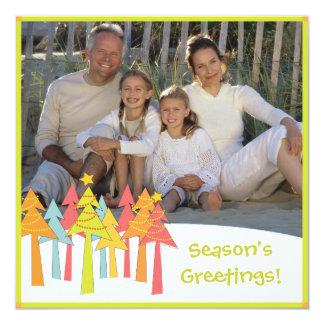 Retro Christmas Trees Holiday Photo Card Greeting