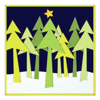 "Retro Christmas Trees Holiday Photo Greeting Card 5.25"" Square Invitation Card"