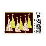 Retro Christmas Trees Holiday Postage