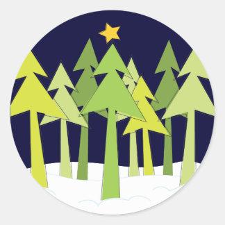 Retro Christmas Trees Holiday Round Sticker