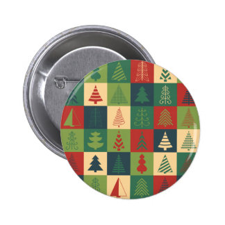 Retro Christmas trees pattern Buttons
