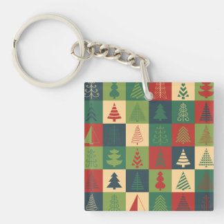 Retro Christmas trees pattern Double-Sided Square Acrylic Keychain