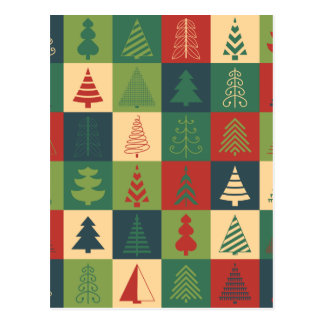 Retro Christmas trees pattern Post Card