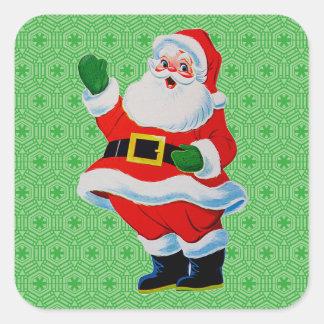 Retro Christmas Waving Santa Claus Gift Stickers