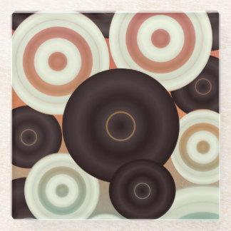Retro Circle Pattern Glass Coaster