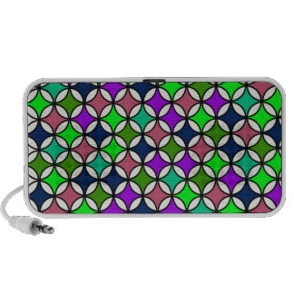 Retro Circle Pattern in Vibrant Colors iPod Speakers