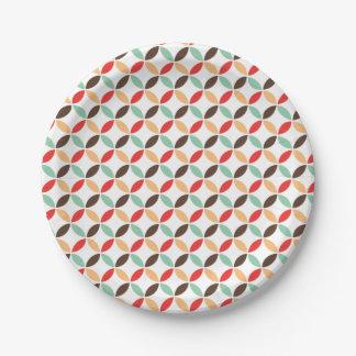 Retro circle pattern paper plate