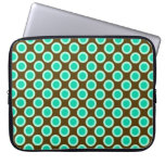 Retro circled dots, brown and turquoise laptop sleeve