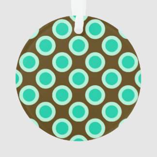Retro circled dots, brown and turquoise ornament
