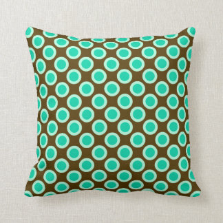 Retro circled dots, brown and turquoise throw pillow