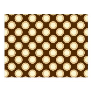 Retro circled dots, chocolate, cream and tan post card