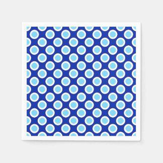 Retro circled dots, cobalt blue and white paper napkins