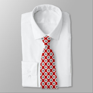 Retro circled dots, deep red and gray neck tie