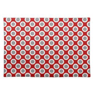 Retro circled dots, deep red and gray place mats
