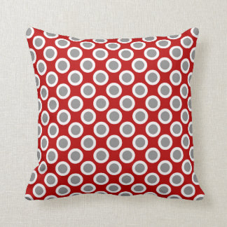 Retro circled dots, deep red and gray throw pillow