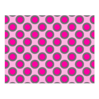 Retro circled dots, fuchsia, grey and pink postcard