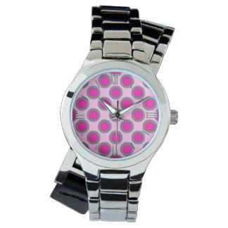 Retro circled dots, fuchsia, grey and pink wristwatch