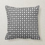Retro circled dots, grey, black and white throw pillow