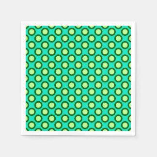 Retro circled dots, peacock and light green disposable napkins