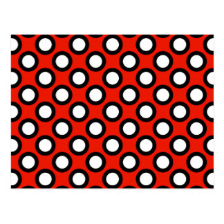 Retro circled dots, red, black and white postcards