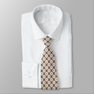 Retro circled dots, shades of taupe tan neck tie