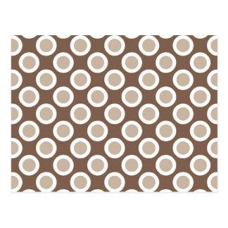 Retro circled dots, shades of taupe tan post card