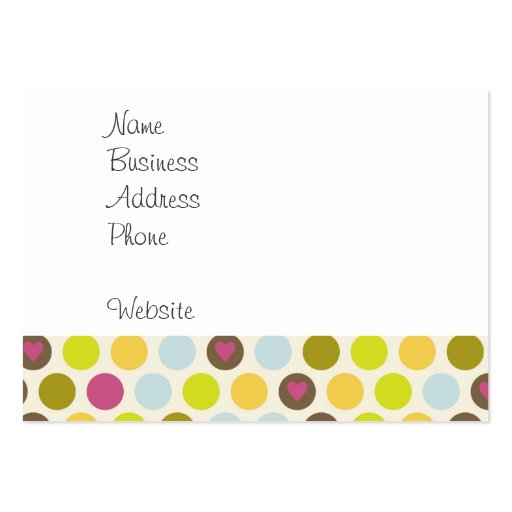 Retro Circles and Hearts Pattern Green Gold Blue Large Business Cards (Pack Of 100)