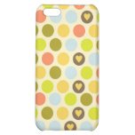 Retro Circles and Hearts Pattern Green Gold Blue iPhone 5C Cover