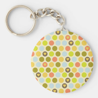 Retro Circles and Hearts Pattern Green Gold Blue Keychain