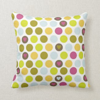 Retro Circles and Hearts Pattern Green Gold Blue Throw Pillow
