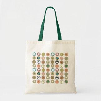 Retro Circles and Hearts Tote Bag