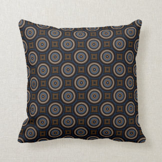 Retro Circles and Squares Navy Blue Brown Stylish Pillow