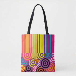 Retro Circles and Stripes 60's Style Pattern Tote Bag