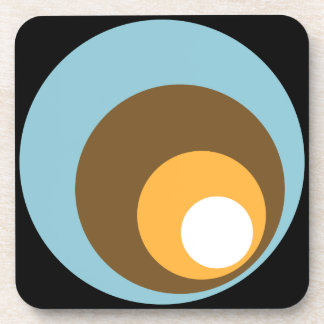 Retro Circles Black Blue Brown Orange & White Coaster
