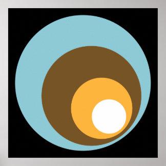 Retro Circles Black Blue Brown Orange & White Poster